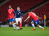 23rd March 2018, Hampden Park, Glasgow, Scotland; International Football Friendly, Scotland versus Costa Rica; Andy Robertson of Scotland takes on Bryan Ruiz  and Kevin Briceno of Costa Rica