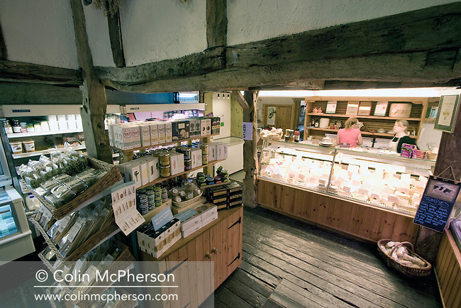 The Low Sizergh Barn farm shop cafe at Kendal, Cumbria in northwest England. The 250-acre dairy farm is owned by Alison Park who opened the farm shop in 1991. The farm is maintained in the traditional way and became completely organic in 2002.