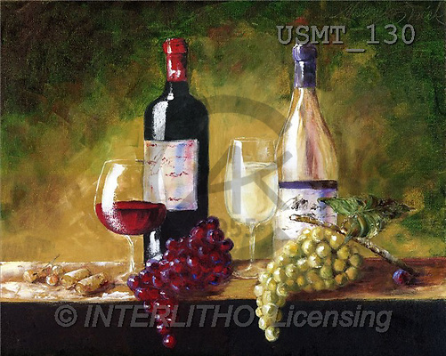 Malenda, STILL LIFES, paintings, red&whitewineII(USMT130,#I#) Stilleben, naturaleza muerta, illustrations, pinturas