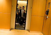 NEW YORK - APRIL 19: Better Than Ezra waves goodbye from the elevator at Sirius Headquarters on April 19, 2005 in New York City.(Photo by Landon Nordeman)
