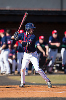 Dalton Hoiles (32) of the Shippensburg Raiders at bat against the Belmont Abbey Crusaders at Abbey Yard on February 8, 2015 in Belmont, North Carolina.  The Raiders defeated the Crusaders 14-0.  (Brian Westerholt/Four Seam Images)