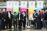 (L to R) Craig Reedie, Hitomi Obara, Kaori Icho, Saori Yoshida, Yuki Ota, Tomiaki Fukuda, MARCH 6, 2013 : Tomiaki Fukuda speeachs for International Olympic Committee Vice President Craig Reedie and IOC Evaluation Commission menber at Tokyo Bigsight, Tokyo, Japan. The IOC evaluation commission, led by Reedie, began a four-day inspection of Tokyo's bid to host the 2020 Olympics. (Photo by Yusuke NakanishiAFLO SPORT)