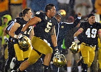 Te'o celebrates the dramatic win over Stanford.