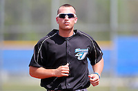 Toronto Blue Jays minor league third baseman Mark Sobolewski #9 during a game vs the New York Yankees at the Englebert Minor League Complex in Dunedin, Florida;  March 21, 2011.  Photo By Mike Janes/Four Seam Images
