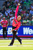 10th February 2019, Melbourne Cricket Ground, Melbourne, Australia; Australian Big Bash Cricket, Melbourne Stars versus Sydney Sixers; Nathan Lyon of the Sydney Sixers bowls the ball