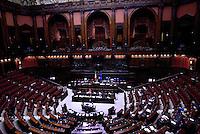 Roma, 27 Aprile 2015<br /> La legge elettorale approda alla Camera dei Deputati.<br /> Aula deserta, con la Ministra Maria Elena Boschi