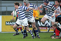 Dungannon skipper Paul Magee on the attack during the First Trust Senior Cup Final at Ravenhill. Result - Dungannon 27pts Harlequins 10pts.