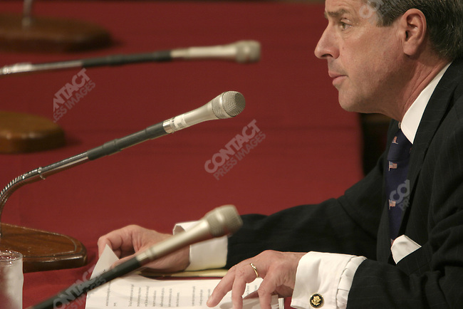 Ambassador Paul Bremer, charged by Pres. Bush to help rebuild and restore order to post-war Iraq, meets with Senators of the Appropriations Committee on Capital Hill to explain the Presidents request for  $87 billion. September 22, 2003,  Washington, DC