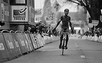 an almost unrecognizable Wout Van Aert (BEL/Vastgoedservice-Golden Palace) crossing the finish line as race winner<br /> <br /> Azencross Loenhout 2014