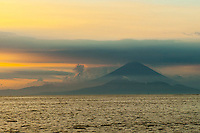 A rare view of Gunung Agung, Bali's sacred mountain--usually shrouded in cloud and mist, it is otherwise clearly visible from the western shores of Lombok.