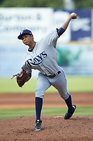 Princeton Rays starting pitcher Luis Moncada (22) in action against the Pulaski Yankees at Calfee Park on July 14, 2018 in Pulaski, Virginia. The Rays defeated the Yankees 13-1.  (Brian Westerholt/Four Seam Images)