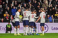 England Under 21's celebrate the second goal during the UEFA Euro U21 Qualifying match between England U21 & Kosovo U21 at KCOM Craven Park, Hull, England on 9 September 2019. Photo by Stephen Buckley / PRiME Media Images.