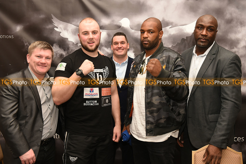 From left: Ricky Hatton, Nathan Gorman, Tommy Dove, Dominic Akinlade and Derek Williams during a DoveBox Promotions Press Conference at the Landmark Hotel on 9th March 2017
