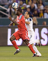 LA Galaxy forward Landon Donovan (10) battles Toronto FC defender Nana Attakora (3). The LA Galaxy and Toronto FC played to a 0-0 draw at Home Depot Center stadium in Carson, California on Saturday May 15, 2010.  .