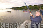 Cllr. P.J. O'Donovan got the Ladies Seine Boat race in Cahersiveen off to a shotgun start on Saturday in aid of the I.H.C.P.T.