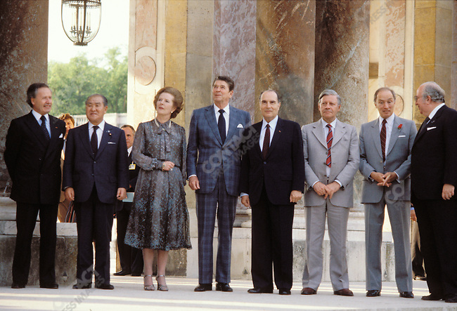 Margaret Thatcher and other world leaders at the G7 Summit in Versailles, France, July 1982