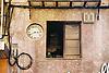 Facade with clock, window and chaotically installations<br /> <br /> fachada con reloj, ventana y instalaciones ca&oacute;ticas<br /> <br /> Fassade mit Uhr, Fenster und chaotischer Installation<br /> <br /> 1840 x 1232 px<br /> Original: 35 mm