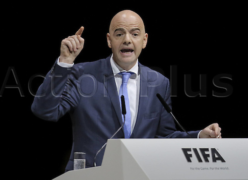 26.02.2016. Zurich, Switzerland. UEFA Secretary-General Gianni Infantino Switzerland speaks to the congress of his plans before voting started