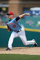 Columbus Clippers relief pitcher Jeff Beliveau (38) in action against the Indianapolis Indians at Huntington Park on June 17, 2018 in Columbus, Ohio. The Indians defeated the Clippers 6-3.  (Brian Westerholt/Four Seam Images)