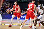 Crvena Zvezda Mts Belgrade's Nemanja Dangubic and Ognjen Kuzmic during Turkish Airlines Euroleague match between Real Madrid and Crvena Zvezda Mts Belgrade at Wizink Center in Madrid, Spain. March 10, 2017. (ALTERPHOTOS/BorjaB.Hojas)