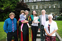 Doctor David Nott who received an honorary Doctorate degree, with his wife, two children and family. Monday 03 July 2017<br /> UWTSD Graduation ceremony at the University of Wales Trinity Saint Davids, Carmarthen Campus, Wales, UK