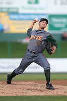 Brad Markey #12 of the Boise Hawks pitches against the Everett AquaSox at Everett Memorial Stadium on July 22, 2014 in Everett, Washington. Everett defeated Boise, 6-0. (Larry Goren/Four Seam Images)