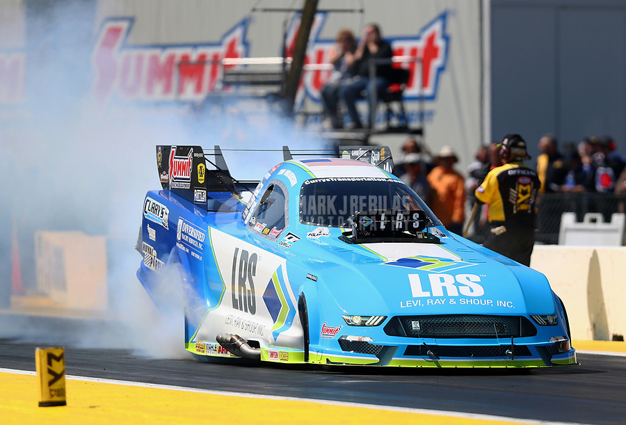 Mar 17, 2017; Gainesville , FL, USA; NHRA funny car driver Tim Wilkerson during qualifying for the Gatornationals at Gainesville Raceway. Mandatory Credit: Mark J. Rebilas-USA TODAY Sports