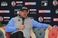 Lee Westwood (ENG) in the interview room during the Pro-Am of the Betfred British Masters 2019 at Hillside Golf Club, Southport, Lancashire, England. 08/05/19<br /> <br /> Picture: Thos Caffrey / Golffile<br /> <br /> All photos usage must carry mandatory copyright credit (&copy; Golffile | Thos Caffrey)