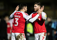 Fleetwood Town's Danny Andrew (left) and Wes Burns celebrate victory at the end of the match<br /> <br /> Photographer Andrew Kearns/CameraSport<br /> <br /> The EFL Sky Bet League One - Wycombe Wanderers v Fleetwood Town - Tuesday 11th February 2020 - Adams Park - Wycombe<br /> <br /> World Copyright © 2020 CameraSport. All rights reserved. 43 Linden Ave. Countesthorpe. Leicester. England. LE8 5PG - Tel: +44 (0) 116 277 4147 - admin@camerasport.com - www.camerasport.com
