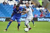 30th September 2017, Cardiff City Stadium, Cardiff, Wales; EFL Championship football, Cardiff City versus Derby County; Nathaniel Mendez-Laing of Cardiff City fends off Bradley Johnson of Derby County
