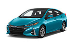 2017 Toyota Prius Plug-in Hybride Solar 5 Door Hatchback angular front stock photos of front three quarter view