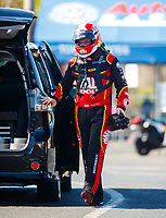 Feb 9, 2018; Pomona, CA, USA; NHRA top fuel driver Doug Kalitta during qualifying for the Winternationals at Auto Club Raceway at Pomona. Mandatory Credit: Mark J. Rebilas-USA TODAY Sports