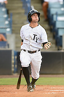 Tampa Yankees outfielder Jake Cave (18) at bat during a game against the Dunedin Blue Jays on June 28, 2014 at George M. Steinbrenner Field in Tampa, Florida.  Tampa defeated Dunedin 5-2.  (Mike Janes/Four Seam Images)