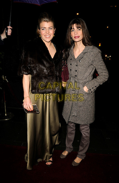 AMBER AIKENS & LISA B.The Cadogan Hotel's 120th anniversary party, 75 Sloane St., London, England..April 15th, 2008.full length black dress fur wrap jacket brown grey gray tweed coat Barbuscia Bilton gold silk satin hands in pockets .CAP/CAN.©Can Nguyen/Capital Pictures.