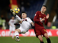 Calcio, Serie A: AS Roma vs Cagliari, Roma, stadio Olimpico, 16 dicembre 2017.<br /> Cagliari's Fabio Pisacane in action with Roma's Patrik Schick (r) during the Italian Serie A football match between AS Roma and Cagliari at Rome's Olympic stadium, December 16, 2017.<br /> UPDATE IMAGES PRESS/Isabella Bonotto