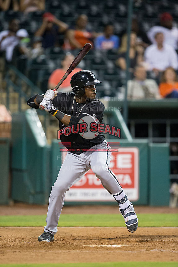 Micker Aldofo (37) of the Kannapolis Intimidators at bat against the Greensboro Grasshoppers at NewBridge Bank Park on July 7, 2016 in Greensboro, North Carolina.  The Dash defeated the Pelicans 13-9.  (Brian Westerholt/Four Seam Images)