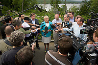Parti Quebecois leader Pauline Marois gestures as she speak during a press conference at Dushesnay Conservation centre in Sainte-Catherine-de-la-Jacques-Cartier, just north of Quebec city, Wednesday June 22, 2011. Marois called a special caucus meeting to try to settle the internal dissension of the last few weeks.