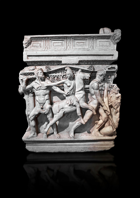 """End panel of a Roman relief sculpted Hercules sarcophagus with kline couch lid, """"Columned Sarcophagi of Asia Minor"""" style typical of Sidamara, 250-260 AD, Konya Archaeological Museum, Turkey. Against a black background"""