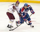 Quinn Smith (BC - 27), Josh Holmstrom (UML - 12) - The University of Massachusetts Lowell River Hawks defeated the Boston College Eagles 4-2 (EN) on Tuesday, February 26, 2013, at Kelley Rink in Conte Forum in Chestnut Hill, Massachusetts.