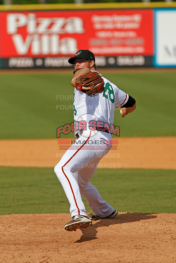 Down East Wood Ducks pitcher Blake Bass (28) on the mound during a game against the Salem Red Sox at Grainger Stadium on April 16, 2017 in Kinston, North Carolina. Salem defeated Down East 9-2. (Robert Gurganus/Four Seam Images)