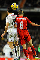 Real Madrid´s Alvaro Arbeloa and Sevilla's Fernando Navarro during 2014-15 La Liga match between Real Madrid and Sevilla at Santiago Bernabeu stadium in Alcorcon, Madrid, Spain. February 04, 2015. (ALTERPHOTOS/Luis Fernandez) /NORTEphoto.com