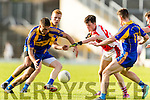 Adrian Spillane Kenmare in action against Cathal Murphy Rathmore in the Senior County Football Semi Final in Fitzgerald Stadium on Sunday.