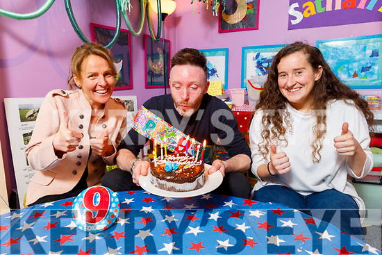 Tom Dillion gets a surprise 9th birthday party from his colleagues at the Kerry County Museum on Friday. <br /> Seated l to r: Tom Dillion, Sandra Leahy and Gemma O'Connor.