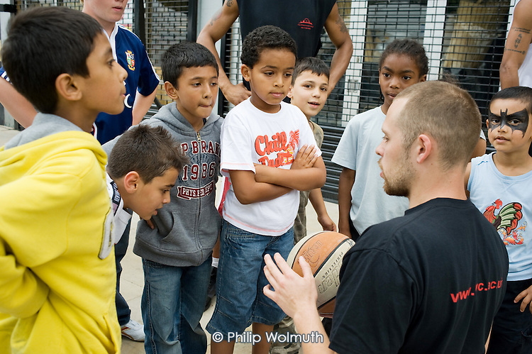 Coaching by Urban Elite Basketball project at Church Street Summer Festival 2009, organised by Church Street Neighbourhood Forum.