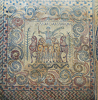 4th Century AD Roman floor Mosaic showing the popular and successful charioteer Marcianus with the palm of victory.  National Museum Of Roman Art, Merida, Spain