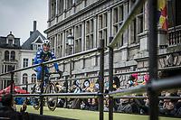 Last year's winner Philippe Gilbert (BEL/Quick Step Floors) rolling onto the spectacular start podium in the center square of the race start town of Antwerp<br /> <br /> 102nd Ronde van Vlaanderen 2018 (1.UWT)<br /> Antwerpen - Oudenaarde (BEL): 265km