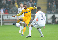 Preston North End's Darnell Fisher under pressure from Swansea City's Martin Olsson<br /> <br /> Photographer Kevin Barnes/CameraSport<br /> <br /> The EFL Sky Bet Championship - Swansea City v Preston North End - Saturday August 11th 2018 - Liberty Stadium - Swansea<br /> <br /> World Copyright &copy; 2018 CameraSport. All rights reserved. 43 Linden Ave. Countesthorpe. Leicester. England. LE8 5PG - Tel: +44 (0) 116 277 4147 - admin@camerasport.com - www.camerasport.com