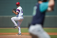 Winston-Salem Rayados relief pitcher Vince Arobio (31) in action against the Lynchburg Hillcats at BB&T Ballpark on June 23, 2019 in Winston-Salem, North Carolina. The Hillcats defeated the Rayados 12-9 in 11 innings. (Brian Westerholt/Four Seam Images)