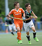 GER - Mannheim, Germany, May 16: During the whitsun tournament boys hockey match between Germany (black) and The Netherlands (orange) on May 16, 2016 at Mannheimer HC in Mannheim, Germany. Final score 4-3 (HT 2-0). (Photo by Dirk Markgraf / www.265-images.com) *** Local caption *** Max Dickel #14 of Germany (U16)