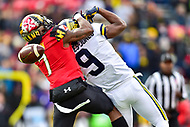 College Park, MD - NOV 11, 2017: Maryland Terrapins defensive back JC Jackson (7) knocks down a pass intended for Michigan Wolverines wide receiver Donovan Peoples-Jones (9) during game between Maryland and Michigan at Capital One Field at Maryland Stadium in College Park, MD. (Photo by Phil Peters/Media Images International)